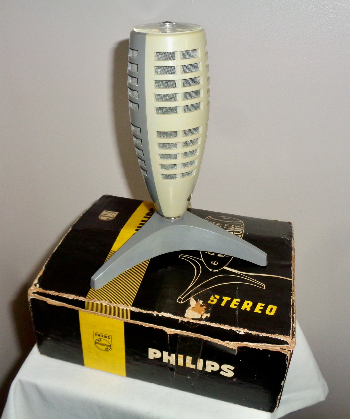 Philips EL3752/00 Table Top Stereo Microphone. Vintage Working 1960s PHILIPS  Recording Microphone