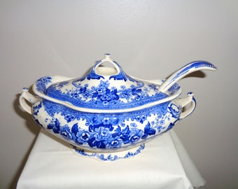 Antique Victorian Colwyn Keeling and Co Late Mayers Small Tureen & Ladle. Blue and White