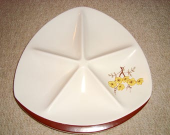 """1950s Carlton Ware Party 12"""" Serving Dish. Pattern 4493. Mimosa. Triform shape. Five Sections. Snack/ Party Plate."""