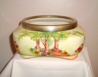 1940s Cream Leighton Pottery EPNS Rimmed Square Bowl Planter/ Ferner/ Jardiniere/ Cache Pot/  Pattern 6470