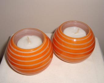SALE!! Vintage Pair Of Orange Blown Art Glass Tea Candle Holders. Spiral Pattern Votives. Autumn/ Fall.