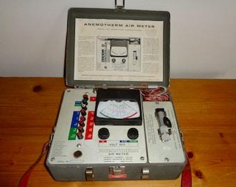 Vintage Anemotherm Air Meter Model 60 In A Metal Case