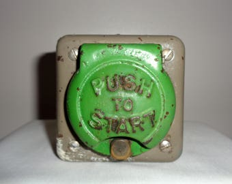Vintage Cast Iron Crabtree 'Push To Start'. Vintage Electrical Switch. Industrial Technology. Display item.  Door Bell Push