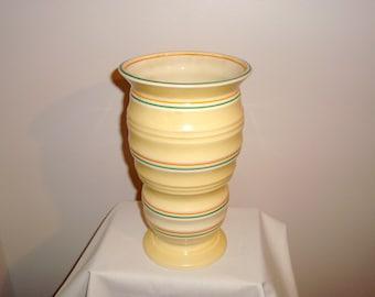 SALE!! 1940s Burgess & Leigh Burleigh Ware 114 Yellow Annulus vase. Geometric Design.