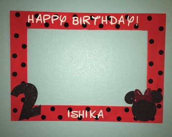 Red and Black Minnie Mouse Photo Booth Frame.