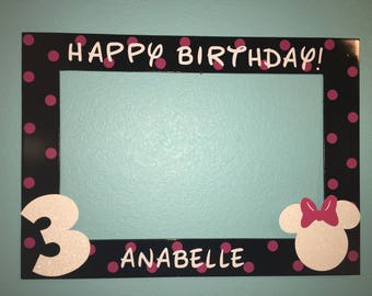 Black and Pink Minnie Mouse Photo Booth Frame.