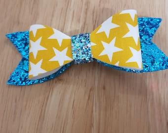 Blue glitter and star hair clip