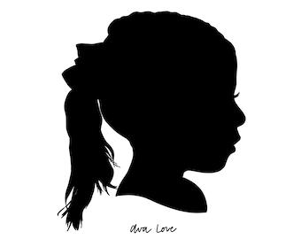 Black and White Custom Silhouette | Child Silhouette Portrait | Profile Silhouette | Silhouette Art | Traditional Silhouette