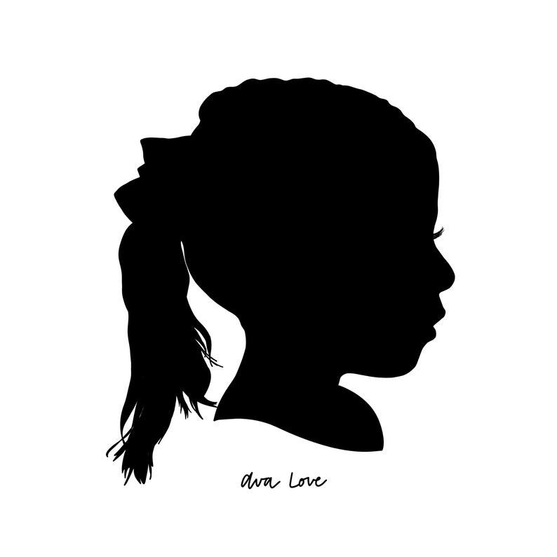 Black and White Custom Silhouette  Child Silhouette Portrait image 0