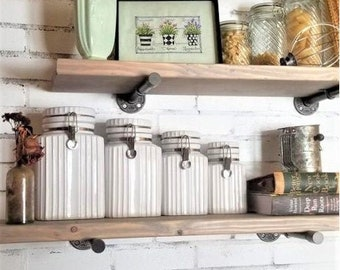 Gray Floating Shelf, Shelf, Shelves, Shelf Brackets, Farmhouse Decor, Rustic Shelf, Wall Decor, Kitchen Shelves, Bathroom Shelves Storage