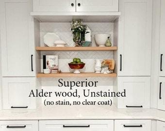 Superior ALDER Floating Shelves Open Floating Shelf Hidden Bracket Premium Shelves Solid Wood Natural Open Shelving Farmhouse