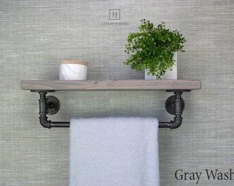 Bathroom Shelf With Towel Bar Etsy