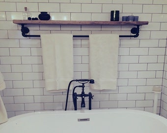 Floating Shelf with Towel Bar Floating Shelves Bathroom Floating Shelves Farmhouse Home Decor Wood Shelf Floating Shelves Pipe Towel Rack