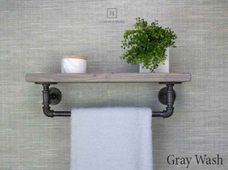 awesome floating bathroom shelves towel | Floating Shelves with Towel Bar Floating Towel Bar Shelf ...