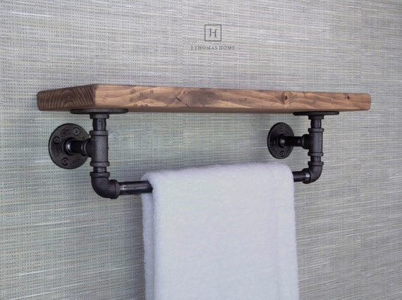 awesome floating bathroom shelves towel | Floating Shelves with Towel Bar Floating Shelf Bathroom | Etsy