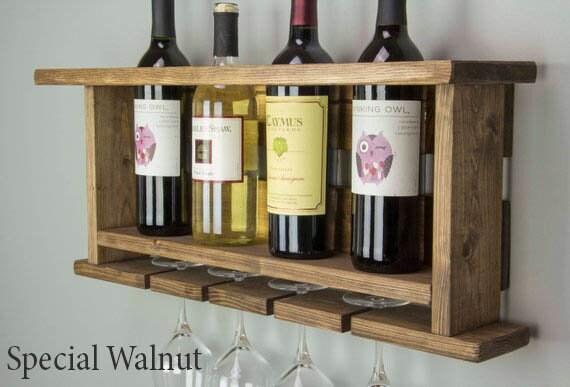 En bois casier à vin porte-bouteille meuble home bar organisateur de stockage shabby look