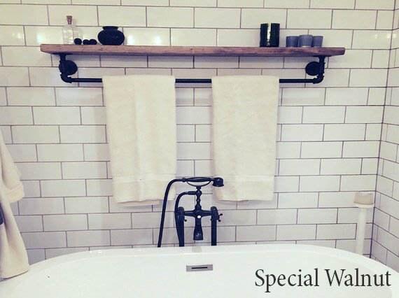 Floating Shelves with Towel Bar Floating Towel Bar Shelf Wooden Shelving  Bathroom Wall Shelf Rustic Floating Shelve Pipe Towel Rack