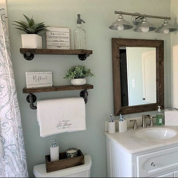 floating shelves bathroom wood