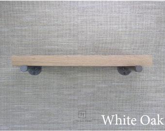 White Oak Wood Shelves Floating Shelf Farmhouse Decor Pipe Shelf Wood Floating Shelves Open Shelving Bathroom Shelves Home