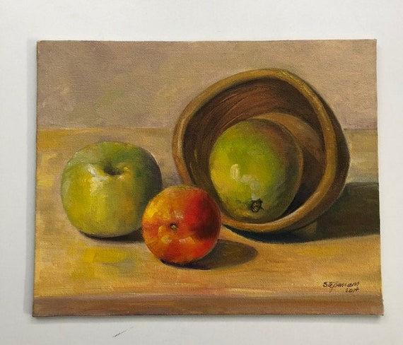 Still Life Fruit Painting Oil Painting Oil On Canvas Board Yellow Green Painting Kitchen Painting Kitchen Wall Decor