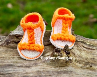 Baby Summer Sandals in a gift Box -Handmade baby Sandals - Neon Orange Sandals - Baby Girl Shoes -Slippers -Baby Gift -Booties - Flip Flops