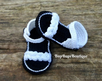 Baby Girl Sandals - White & Black Sandals - Baby Girl Shoes - Slippers -Baby Shower - Baby Gift - Tan - Baby Booties - Sandals - -Flip Flops