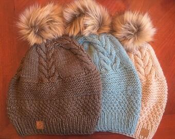 Pom pom Toque/Winter hat/Warm hat/Warm Knit Toque/Merino Wool/Wool Cap/Wool Hat