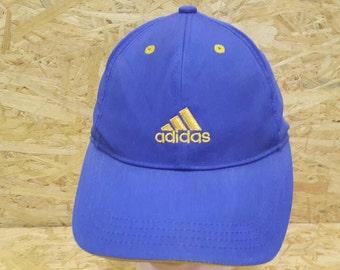 874f5d8b Sale Vintage 80s 90s Adidas Three Stripe Blue Colour Trucker Cap Baseball  Cap Strapback Cap Hat