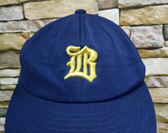 b5913b2ee71eab Vintage 80s 90s Cap Baseball Japanese Team Dark Blue Colour Cap Hat