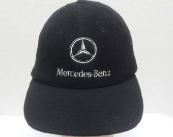 bd63bddc780 Vintage 80s 90s Mercedes Benz Black Colour Big Logo Adjustable Strapback  Cap Hat