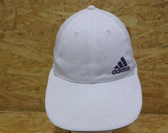 51fbf5ec Vintage 80s 90s Adidas Three Stripe White Colour Trucker Cap Baseball Cap  Strapback Adjustable Cap Hat