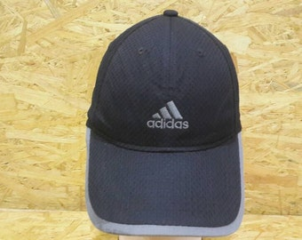 d933f1ec117 Vintage 80s 90s Adidas Three Stripe Black Colour Trucker Cap Baseball Cap  Snapback
