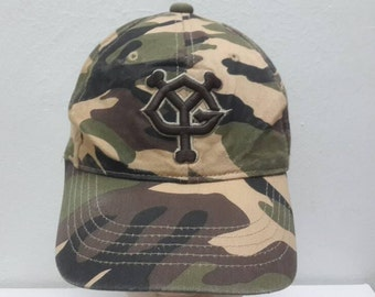 d2d6d39690a Vintage 90s YG Yomiuri Giants Camouflage Army Strapback cap hat
