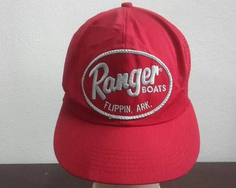 4ce30836098 Vintage 80s 90s Ranger Boats Flippin Ack Fishing Cap Trucker Cap Snapback  Adjustable Cap