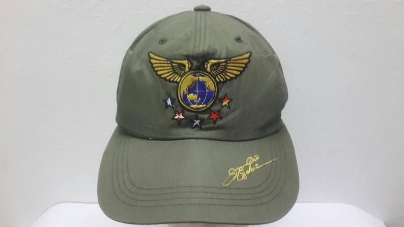 Vintage 80s 90s Bridgestone Army Green Adjustable Strapback  96fbc7406b0