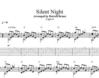 silent night fingerstyle guitar - Easy Christmas Songs Guitar