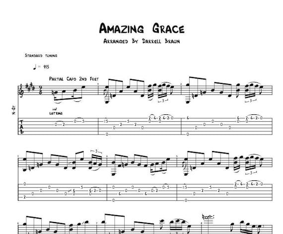 Amazing Grace Celtic Acoustic Guitar Sheet Music | Etsy