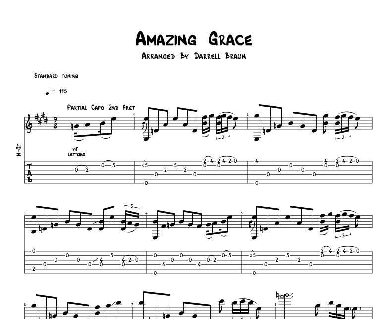 Amazing Grace Celtic Acoustic Guitar Sheet Music Etsy