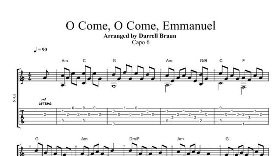 O Come O Come Emmanuel Fingerstyle Guitar Etsy