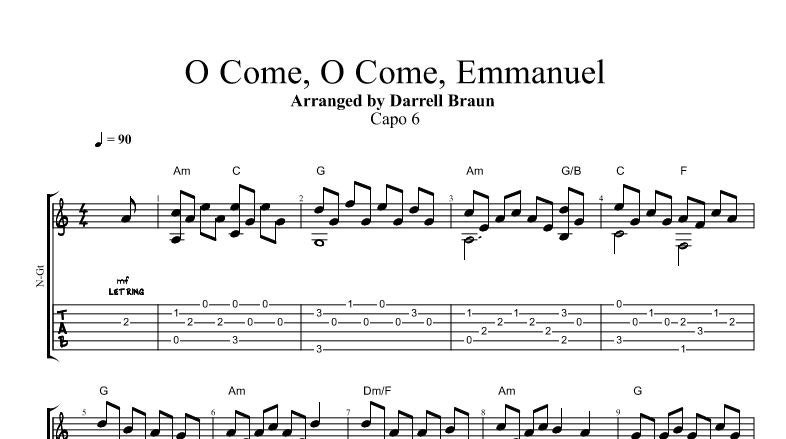 O Come O Come Emmanuel Fingerstyle Guitar | Etsy