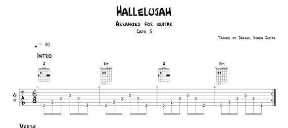 Hallelujah By Leonard Cohen Arranged For Guitar Etsy