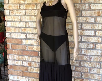 Gemini Collection- Vintage Sheer Black Midi Maxi Dress with Pleated Hem Size 2/4