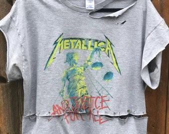 ee9c18c88e1 1 of 1- Custom Cut Safety Pin Cropped Metallica Shirt Size XXL