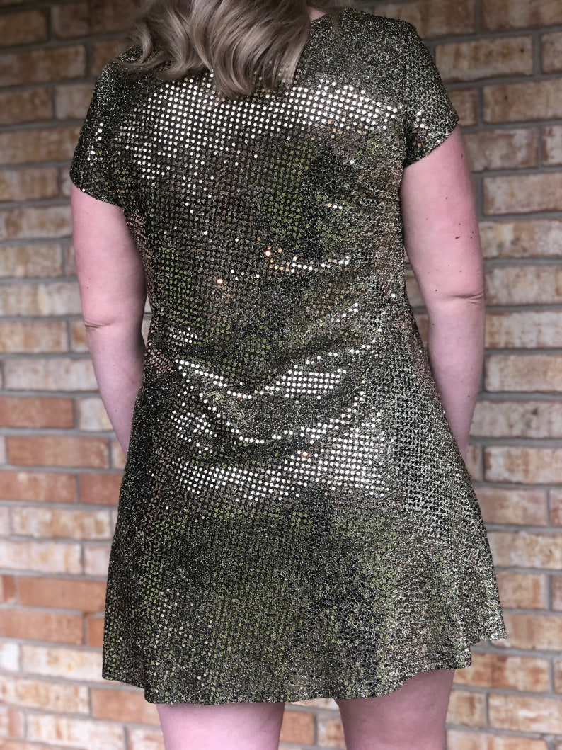 Gold and Black Sparkle Sequin Short Sleeve Mini Dress Size 6-8 Pisces Collection