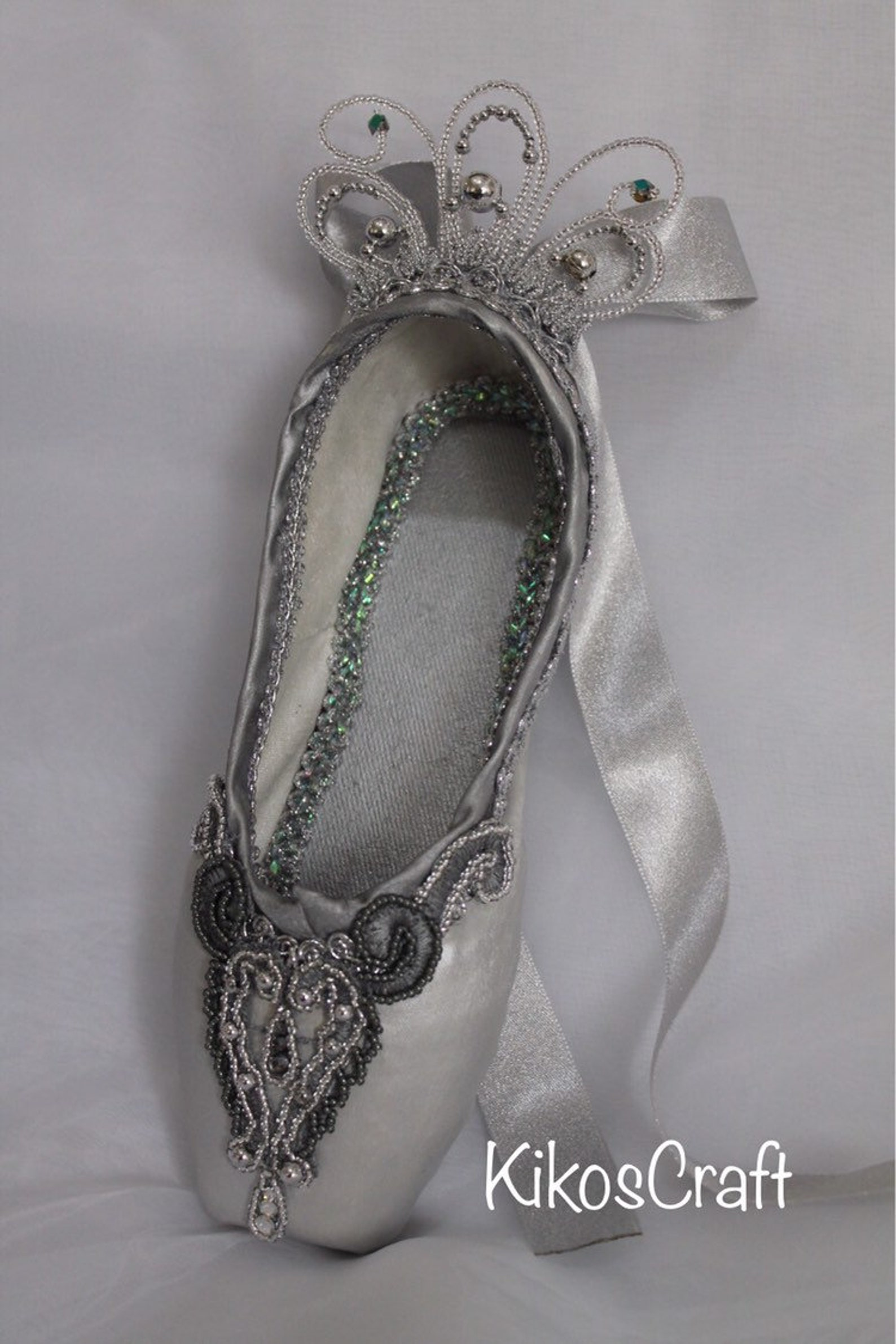 decorated pointe shoe: sleeping beauty silver fairy , diamond fairy,ooak ballet gift, yagp gift, competition gift