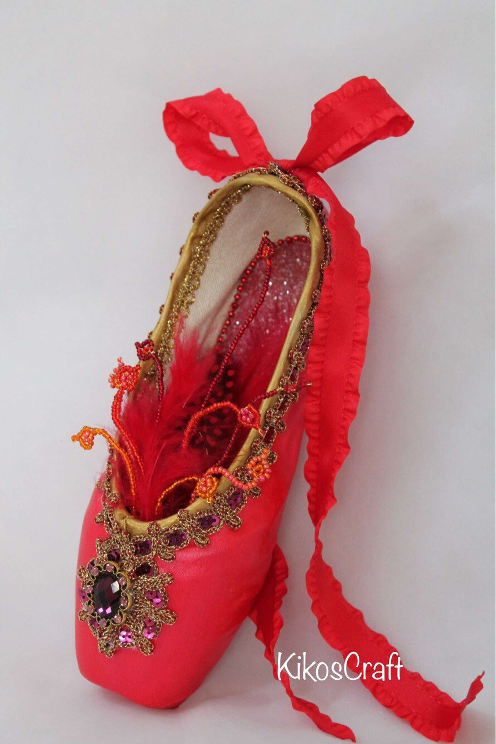 decorated pointe shoe: firebird,sleeping beauty, fairy, ballet variations,ooak ballet gift, yagp gift, competition gift