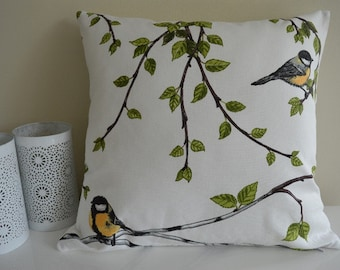"Pillowcase ""Birds in the birch forest"""
