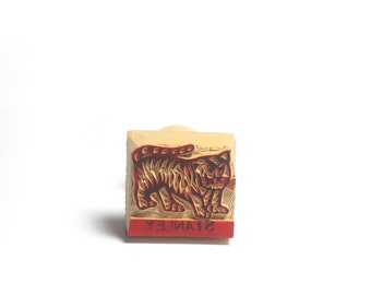 fat tiger clay stamp fat tiger stamp pottery stamp Tiger stamp postcard stamp wooden stamp hand carved