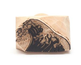 wave stamp, japanese stamp, wooden stamp, hand carved