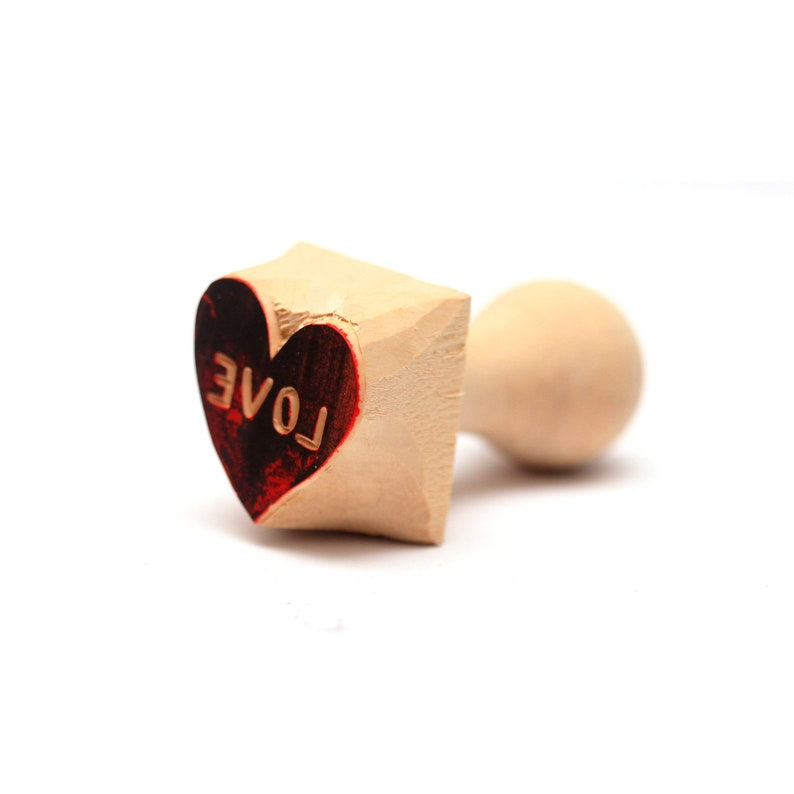love stamp heart shape stamp hand carved valentine stamp kiss stamp gift for her valentine gift gift for him heart stamp